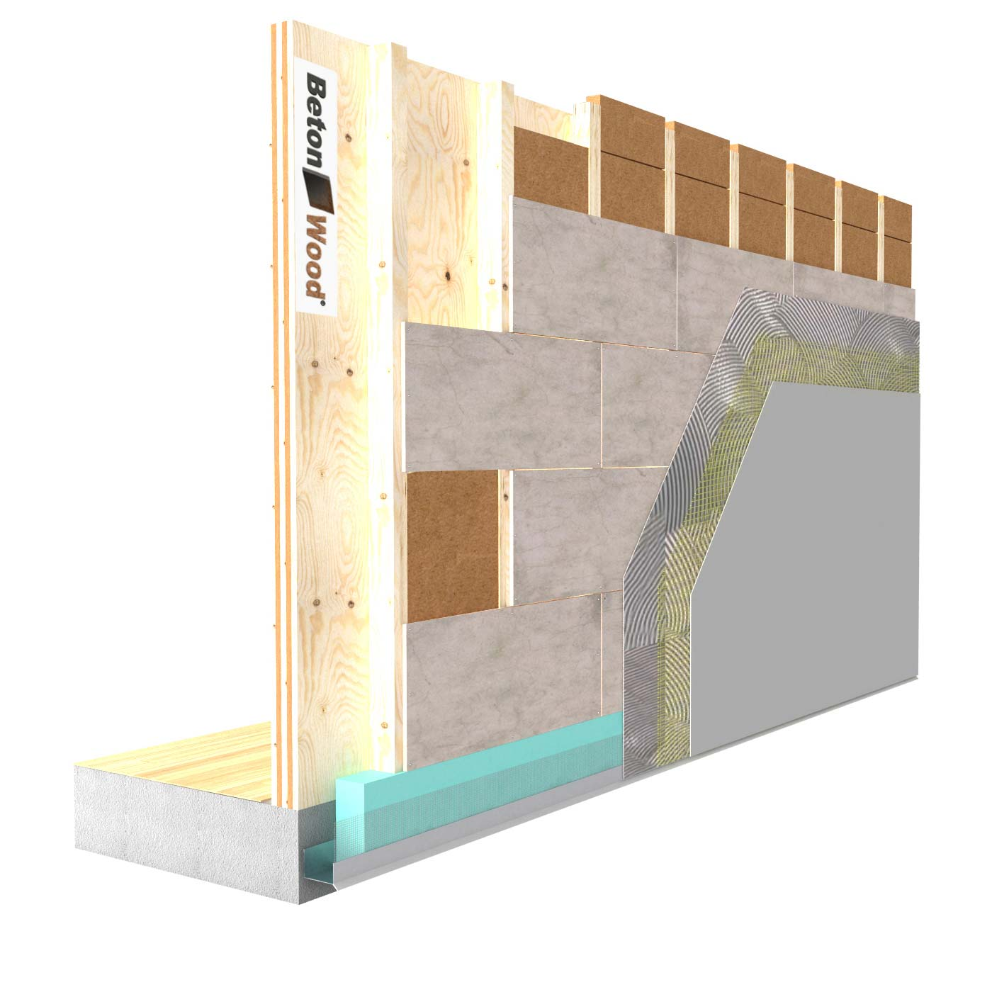 External insulation system with Fiber Wood FiberTherm and cement bonded particle board on X-Lam