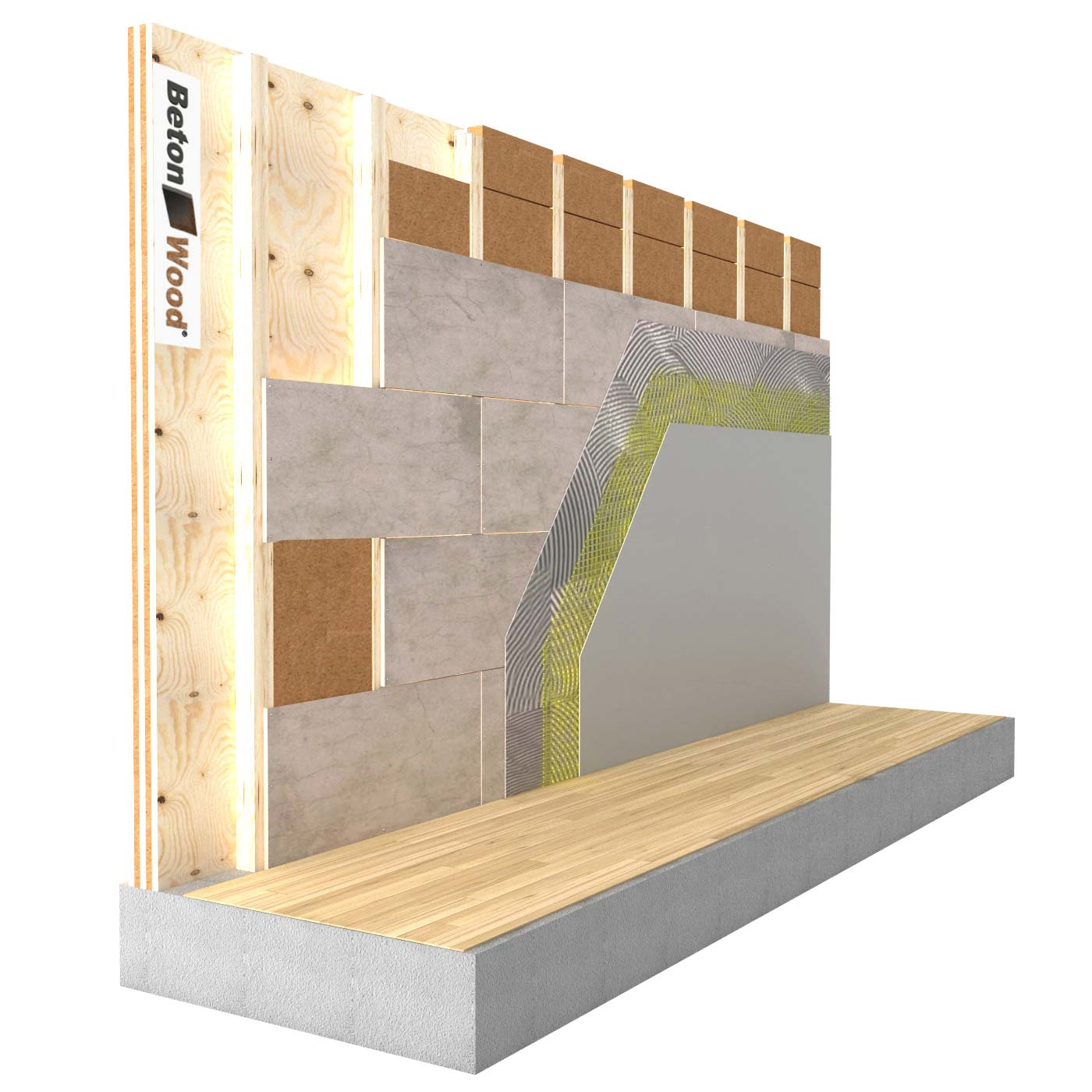 Internal insulation system with fiber wood FiberTherm and cement bonded particle board on X-Lam