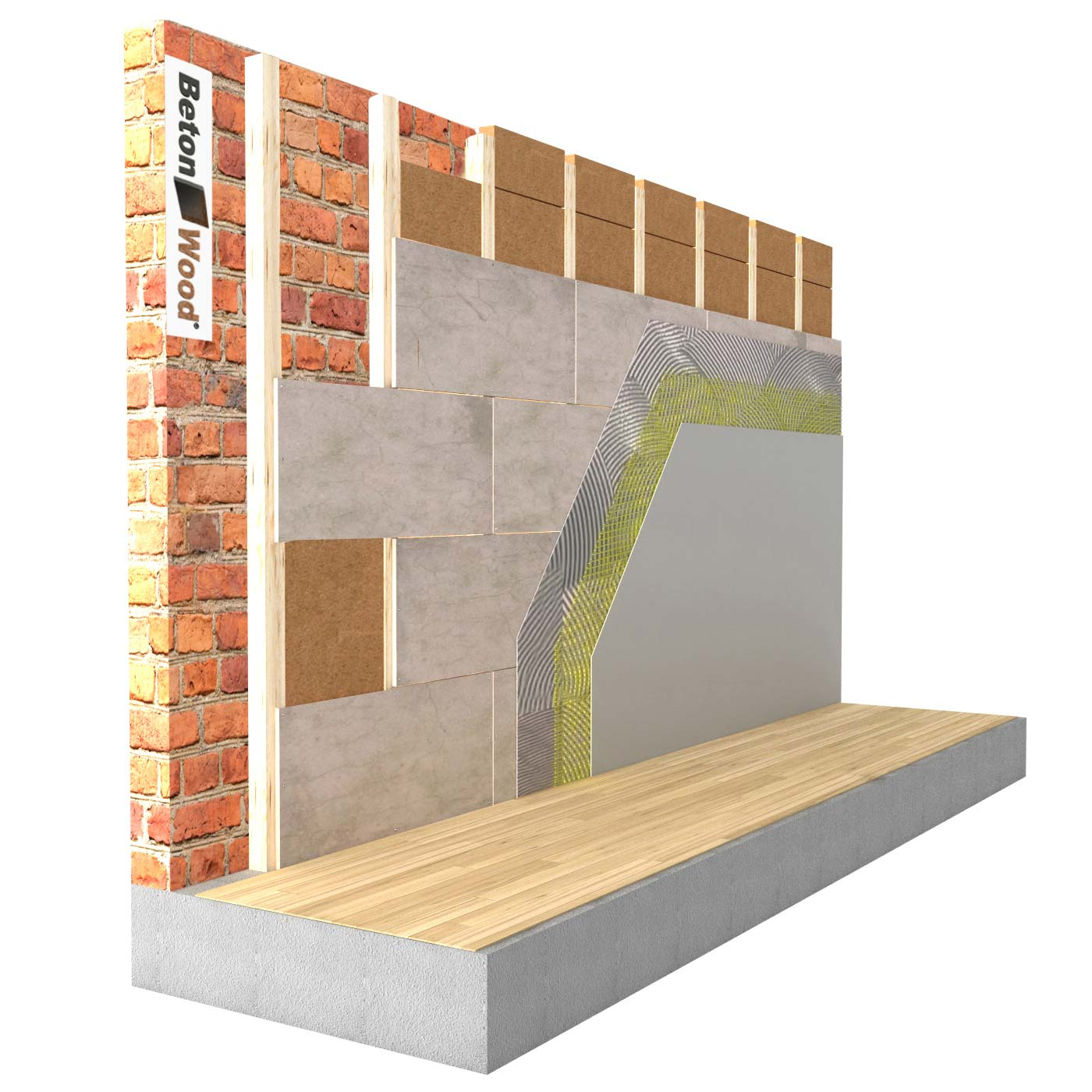 Internal insulation system with fiber wood FiberTherm Internal and cement bonded particle board on masonry