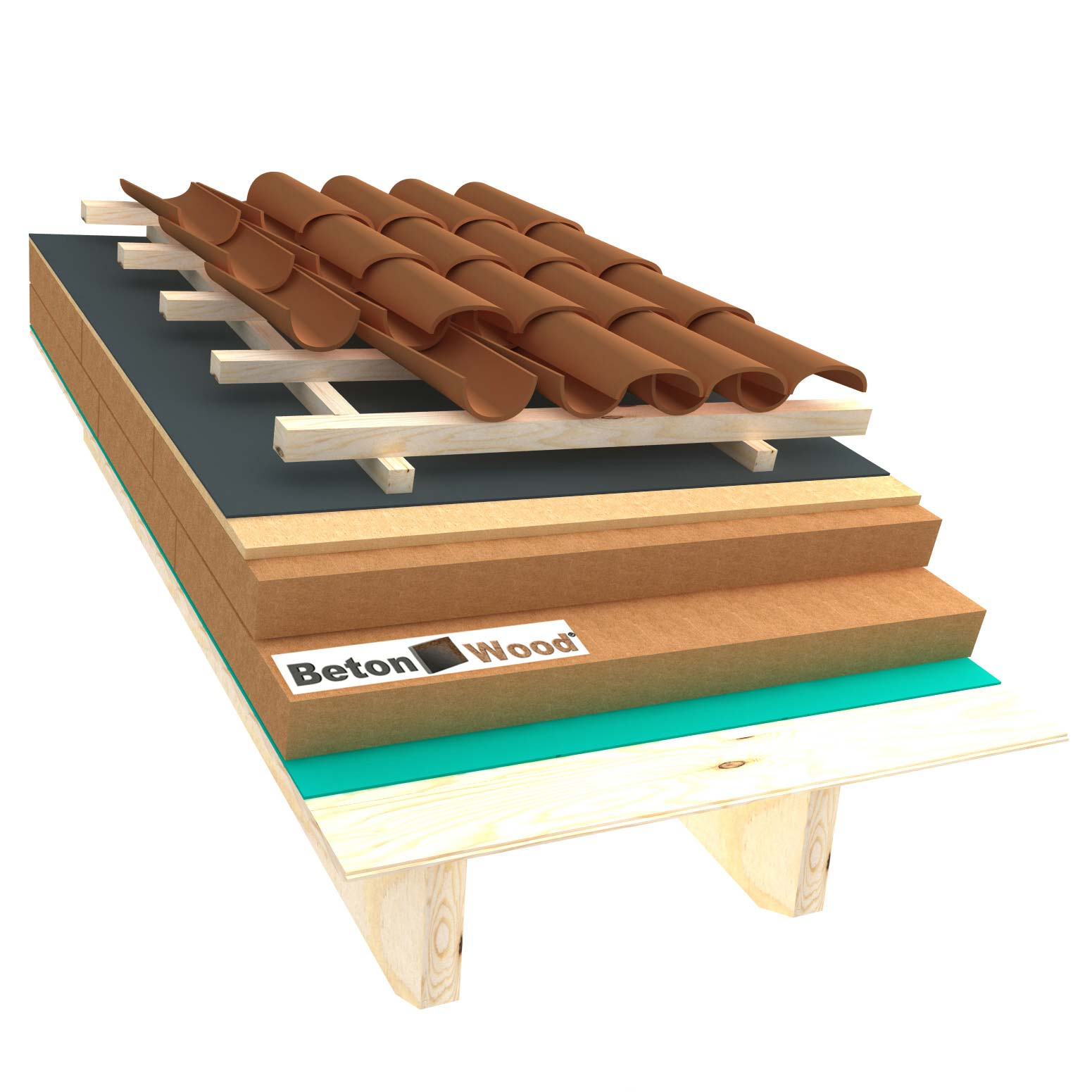 Ventilated roof with wood fiber Isorel and Special on matchboarding