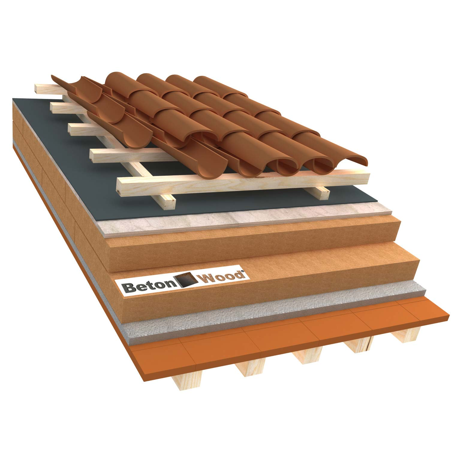 Ventilated roof with wood fiber Special and cement bonded particle boards on terracotta tiles