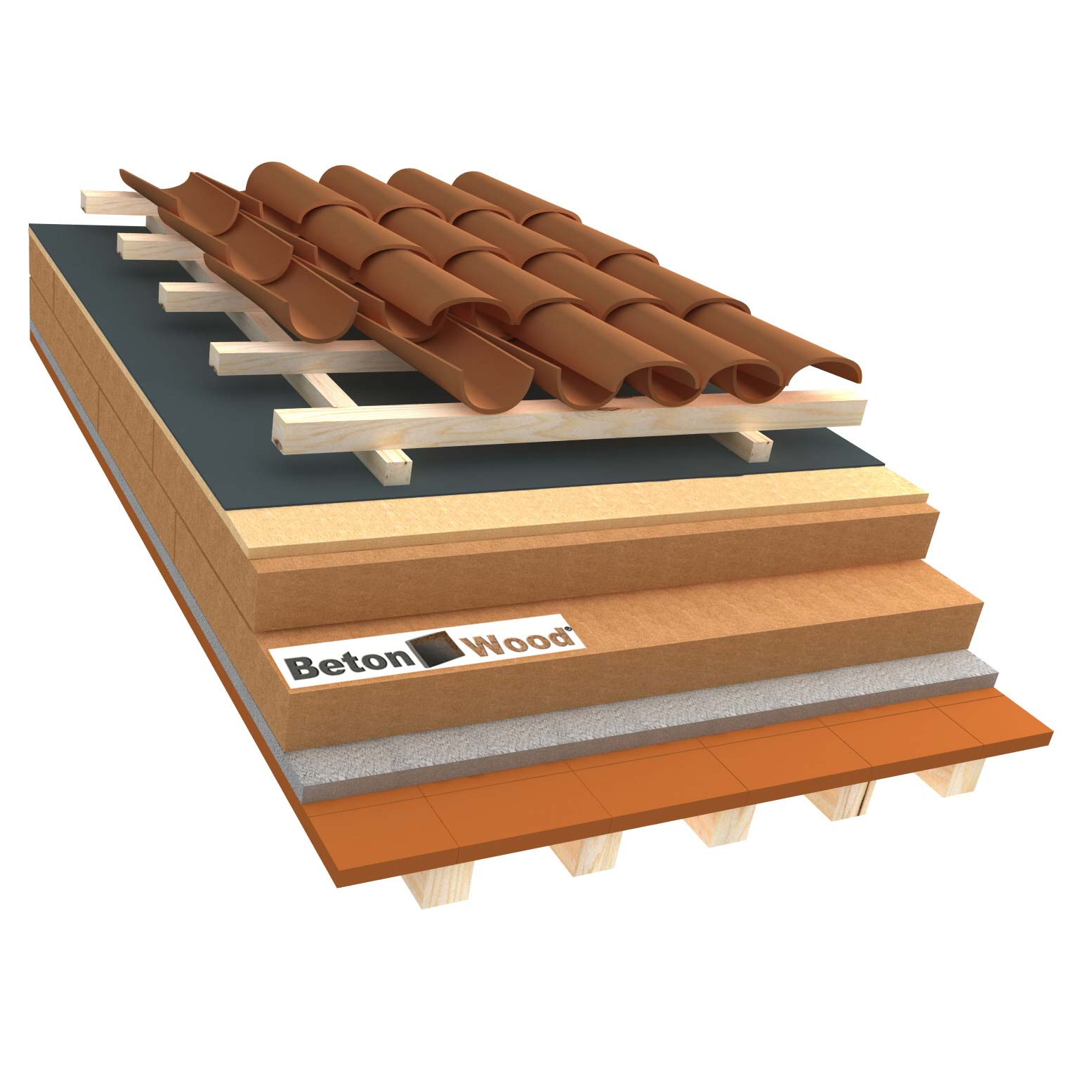 Ventilated roof with wood fiber Isorel and Special on terracotta tiles